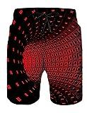 Fanient - Bañador para hombre con estampado 3D y estampado divertido, de secado rápido, ropa de playa, deporte, correr, playa, surf Red Swirl. XL