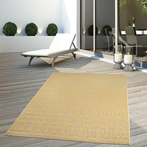 CC Teppich Flachflor Terrassenteppich Außenteppich Modern Outdoor fest Geknüpft Outside Outdoor Verschiedene Designs, Größe in cm:120 x 170 cm, Sunset:Liniert-Grau