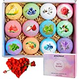 Bath Bombs,12Pcs Bath Bomb Gift Set with Natural Essential Oils, Gift Rose,Shea Butter, Sea Salt,Spa Bubble Fizzies Bath for Kids, Women, Mom, Girlfriend (12x2.8oz)
