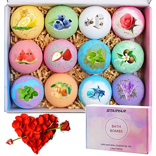 Bath Bombs,12Pcs Bath Bomb Gift Set with Natural Essential Oils, Gift Rose ,Shea Butter, Sea...