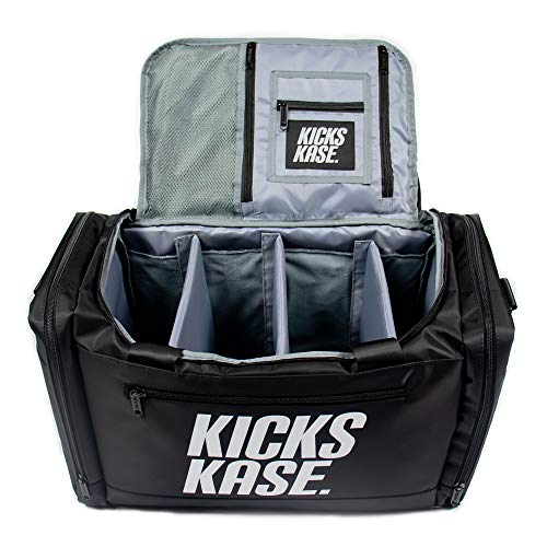 Kicks Kase Premium Sneaker Bag & Travel Duffel Bag - 3 adjustable compartment dividers - For shoes, clothing and gym (Black/Grey)