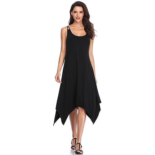 23a09d37ae8 Bshare Women s Spaghetti Strap Casual Sundress with Handkerchief Hem Summer  Sleeveless Midi Dress Black