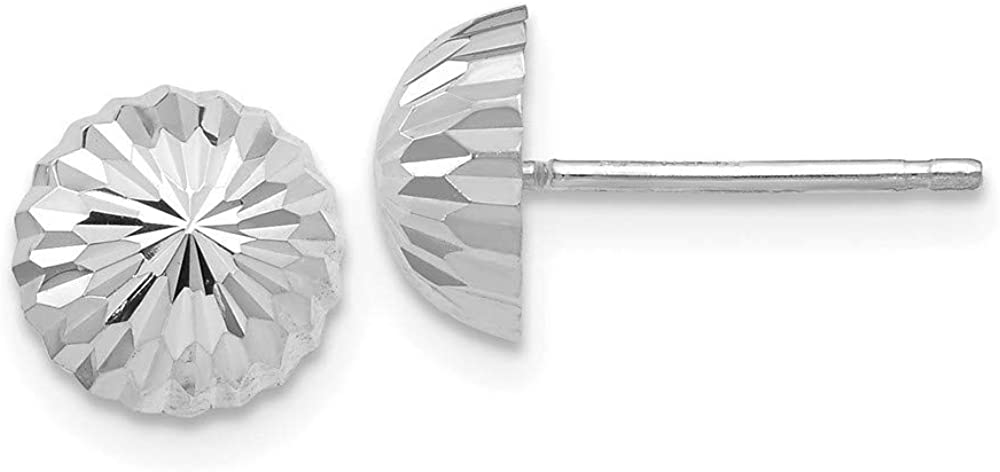 14K White Gold Polished & Diamond-Cut Half Ball Post Earrings