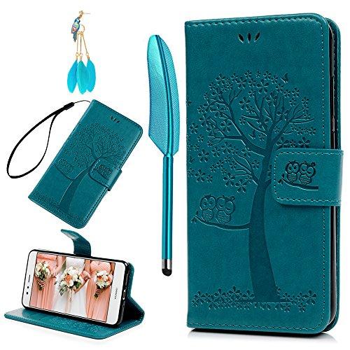 BADALink Hülle für Huawei P10 Lite Blau Eule Handyhülle Leder PU Hülle Cover Magnet Flip Hülle Schutzhülle Kartensteckplätzen & Ständer Handytasche mit Eingabestifte & Staubschutz Stecker