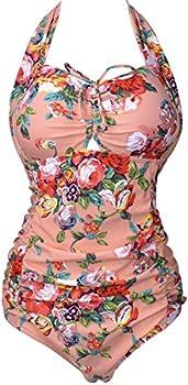 QZUnique Women's Retro Vintage One Piece Swimwear