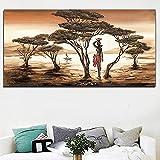 Pinturas en lienzo de mujer africana en la pared carteles e impresiones de paisajes clásicos al atardecer imágenes artísticas de pared para la decoración de la sala de estar 35x70 CM (sin marco)