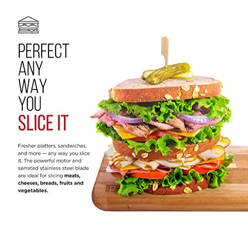 """Chefman Die-Cast Electric Deli/Food Slicer Precisely Cuts Meat Cheese, Bread, Fruit & Veggies, Adjustable Thickness Dial, Removable 7.5"""" Serrated Stainless Steel Blade, Non-Slip Feet, Compact, Black"""