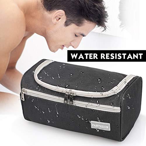 Pantheon Men's Toiletry Bag - Toiletry Organizer Wash Bag Hanging Dopp Kit Shaving Kit Travel for Bathroom Shower (Black)
