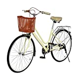 Fpoqbod 26 Inch Beach Cruiser Bicycles for Women, Ladies Single-Speed Classic Retro Bike, Simple and Comfortable Bicycle (Light Yellow)
