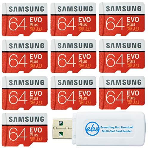 サムスン 64GB Evo Plus MicroSDカード (10個パックEVO+バンドル) クラス10 SDXCメモリーカード アダプター付き (MB-MC64G) Everything But Stromboli (TM) Micro & SDカードリ