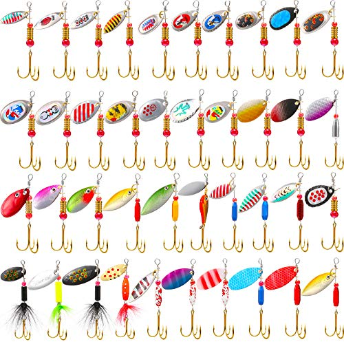 Skylety 40 Pieces Fishing Lures Hard Metal Spinner Lures Spinner Baits for Bass Perch Pike Walleye Trout Salmon Bass Lures Trout Lures with Tackle Box