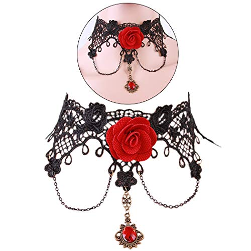ZOYLINK Femmes Choker Vintage Rose Fleur Gem Gothique Pendentif Collier Déclaration Collier Bijoux Femmes Fille Cadeau Pack