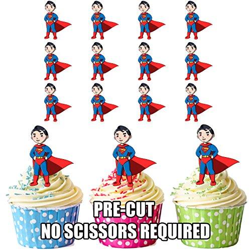 AK Giftshop PRE-CUT Cartoon Superman/Superhero - Eetbare Cupcake Toppers/Cake Decoraties (Pak van 12)