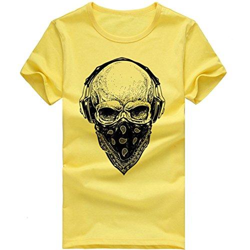 Preisvergleich Produktbild T-Shirts, Honestyi 2018 Frühling Sommer Herren T-Shirt Totenkopf Kapitän Captain Skull Bard Hipster Original Spirit Seemann Slim Fit Baumwolle Top Bluse Sweatshirts, Oversize S-XXXXL (XXXL,  X-Gelb)