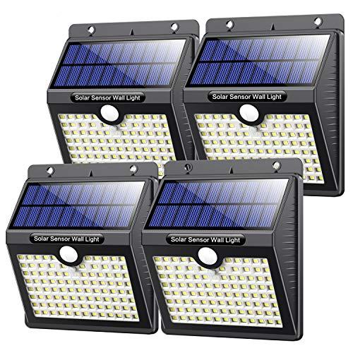 Solarlampen für Außen mit Bewegungsmelder,【Hohe Qualität 97LED-1000Lumen】VOOE Solarleuchte Aussen 2200mAh Solar Wasserdichte Wandleuchte Led Solar Bewegungsmelder Aussen Solarlicht für Garten-4 Stück