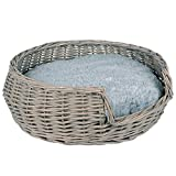 RM E-Commerce - Cama para perros y gatos (mimbre, con cojín, diámetro de 55 cm), color gris