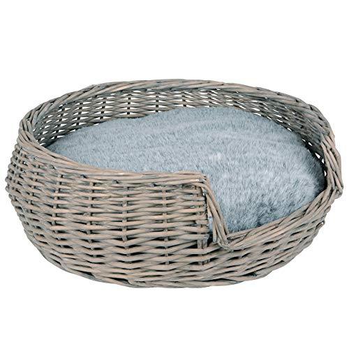 RM E-Commerce Hundebett Hundekorb Hundekörbchen aus Weide mit Kissen Grau Durchmesser 55cm für Hunde und Katzen