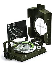 Professioneel waterdicht militaire kompas, Proster metalen kompas voor hellingsmessen met draagtas voor kamperen, jagen, wandelen, geologie en andere outdoor-activiteiten.