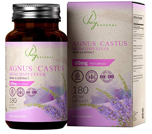 HN Vitex Agnus Cactus (Chaste Berry) 60mg Per Vegan Capsule | 180 Vegetarian Tablets with Clean Fillers | Supplement to Support Womens Health | Non GMO, Dairy, Allergen & Gluten Free