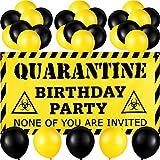 Sumind 37 Pezzi Decorazioni di Compleanno in Quarantena, Include Banner Segno Quarantine Birthday Party e 36 Palloncini in Lattice Giallo e Nero Forniture per Festa a Tema di Compleanno