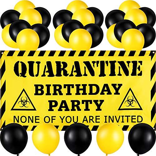 37 Pezzi Decorazioni di Compleanno in Quarantena, Compreso Il Cartello per La Quarantena del Banner di Compleanno di Quarantena e 36 Palloncini in Lattice Giallo e Nero per Feste a Tema Compleanno