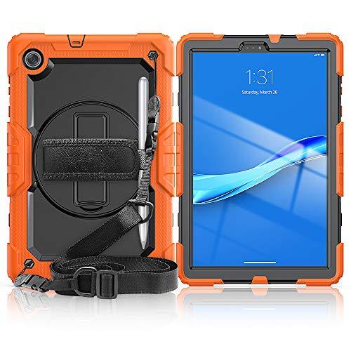 WHWOLF Niños Funda para Lenovo Tab M10 FHD Plus Carcasa (TB-X606) 10.3' Funda de protección [Soporte de rotación de 360°][Correa para el Hombro][asa] Resistente Impacto -Naranja