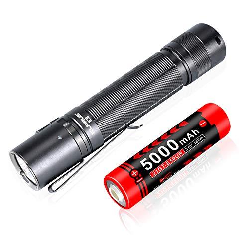 Klarus Linterna de mano E3 de 2200 lúmenes, USB C recargable con interruptor de cola doble linterna táctica con batería de 5000 mAh 21700 para camping, búsqueda, rescate, seguridad, uso de emergencia