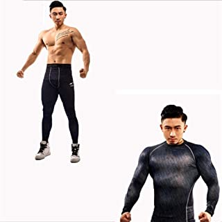 Jinqiuyuan Winter Thermal Underwear Sets Men Quick Dry Stretch Men's Thermo Underwear Male Warm Long Johns Fitness (Color : Brown, Size : L)