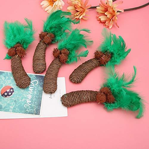 Redxiao Natürliche Federn Katzenspielzeug, Katzeninteraktives Spielzeug, Kokosnussbaum für Katzenspielzeug Katzeninteraktives Spielzeug