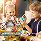 Dasongff 50 Deko-Eier Ostereier mit Schnur Bunte Ostern Aufhängen mit 8 Stifte Paint Marker Dekoeier Plastikeier Eier für Ostern Zum Basteln Bemalen Aufhängen aus Plastik Kunststoff Kunststoffeier