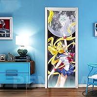 ドアステッカー 壁画デカールクリエイティブドアステッカーアニメ印刷アートピクチャーPVC壁紙自己接着ホームデコレーションガールズルームリノベーションを更新 (Color : Door LXR3108 05, Sticker Size : 95x215cm)