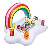Kyerivs Aufblasbarer Getränkehalter Regenbogen-Wolke Getränkehalter Schwimmende Coasters für Pool...