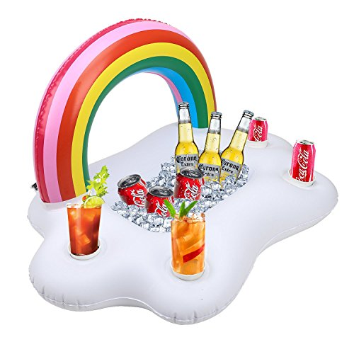 Kyerivs Inflatable Drink Holder Rainbow Cloud Drink Floats for Swimming Pool Party and Water Fun Decorations Summer Beach Leisure Cup Bottle Holder for Adults Kids