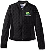 Officially licensed NBA hardwood classic Apparel 100% polyester full zip jacket Slim fit with curved hem, princess seaming with Concealed pockets Poly-filled black body with laser sealed dot pattern Tackle twill team logo embroidered at left chest an...