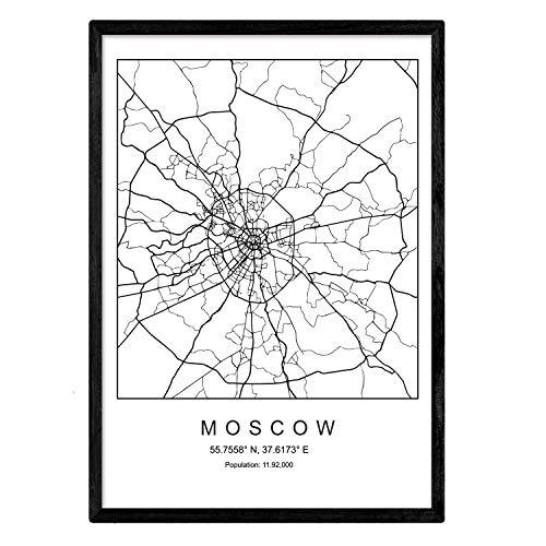 Drucken Stadtplan Moskau skandinavischen Stil in Schwarz und Weiß. A3 Größe Plakat Das bedruckte Papier Keine 250 gr. Gemälde, Drucke und Poster für Wohnzimmer und Schlafzimmer
