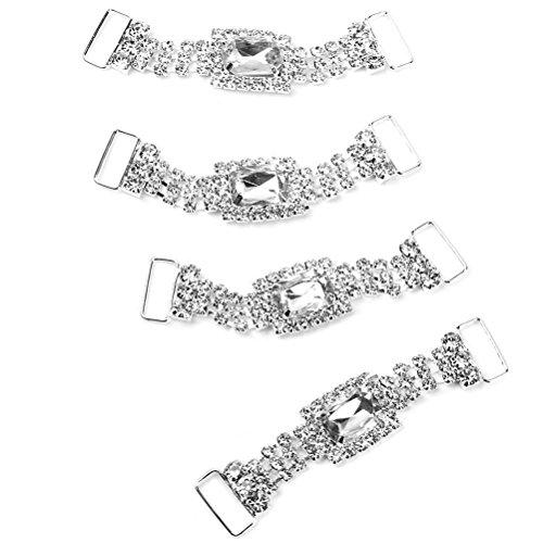 Pixnor Napkin Chaînes Détenteurs de Dîner de Mariage Décoration - 4pcs (Blanc)