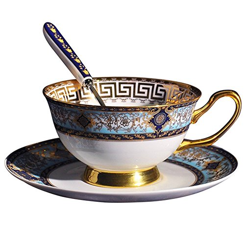 FYX Keramik Kaffeetasse Teetasse aus hochwertigem Porzellan mit Untertasse und Löffel Barock 2#