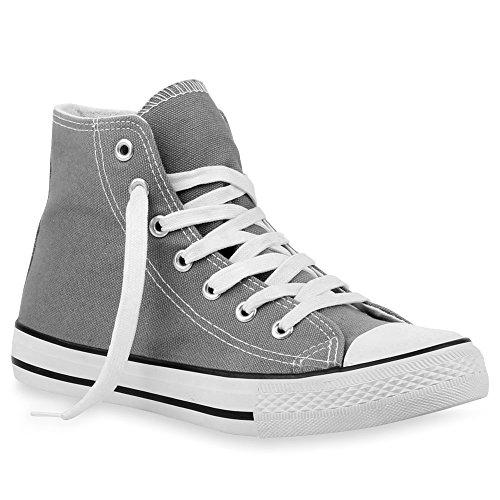 stiefelparadies Damen Sneakers Denim Stoff Spitze Sneaker Low Nieten Glitzer Freizeit Damen Turn Schuhe 35334 Grau 36 Flandell