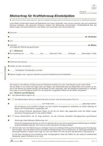 RNK 552 Kaufverträge und Mietverträge Mietvertrag Einstellplatz