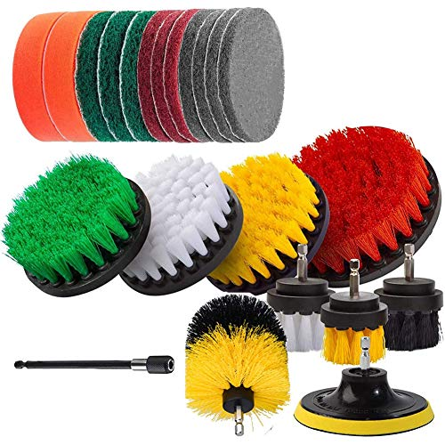 Premium Drill Brush Drill Brush Attachment Kit Power Scrubber Drill Brushes and Scrub Pads for Cleaning Pool Kitchen Garden Floor 22 Pcs