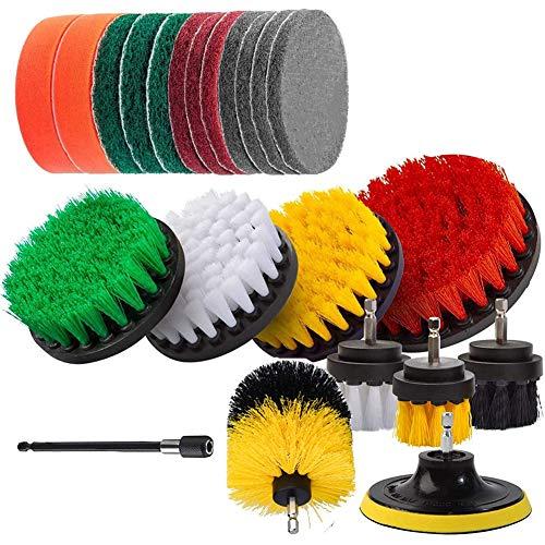 FANKUNYIZHOUSHI Kit de fijación de cepillo de taladro para cepillos de taladro y almohadillas para limpieza de piscina, cocina, jardín, piso, 22 unidades