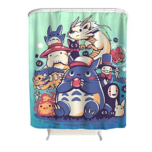 Born for-Anime Duschvorhang Personalisiert Spirit-Away Muster Gedruckt Stoff - Big Family Badewannenvorhang Bunt für Duschen White 180x200cm