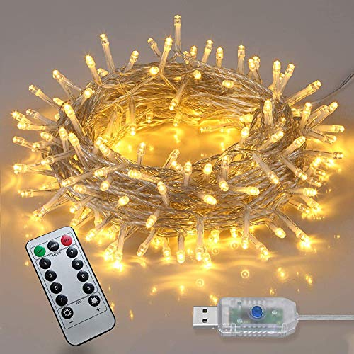 200 Led Christmas Lights, Plug-in Fairy Lights Warm White Indoor/Outdoor Christmas Tree Lights,66feet Waterproof String Lights with 8 Modes and Memory for Christmas Party Garden Wedding Decoration