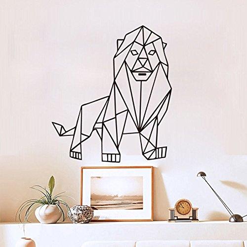 YEDL Etiqueta de la Pared Geométrica Origami Lion Stickers Decoración de la Pared para el Dormitorio Sala de Estar Decoración Sticker Home Decoration Accessories 50 × 58Cm