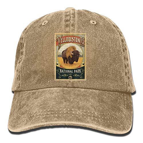Hoswee Cappellino da Baseball/Berretto da Baseball, Yellowstone National Park Unisex Denim Cappellini Adjustable Hats