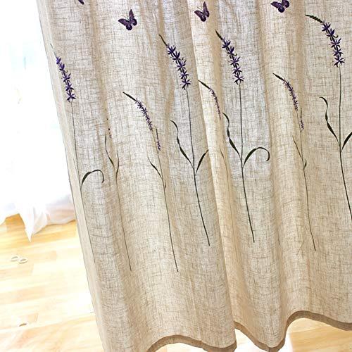 Love Home Lino Cortinas De Ventana,Bordado Floral Retro Estilo Americano Visillos Paneles Tratamiento Cortinas Opacas para Cuarto Comedor Casa De Campo Beige 250 * 265cm(98 * 104inch)