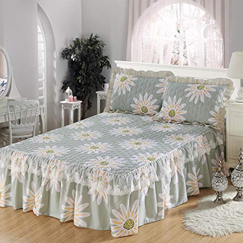XNSY Falda de Cama de algodón Funda de Almohada Gruesa Individual Funda de edredón de Encaje sábana de Cama de algodón-H_Funda de edredón de 220x240 cm