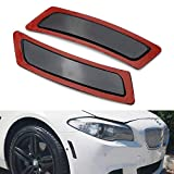 iJDMTOY Black Smoked Lens Front Bumper Side Markers Compatible With 2011-16 BMW F10/F11 5 Series 525i 528i 530i 535i 545i 550i M5, Replace OEM Amber Reflector Assy