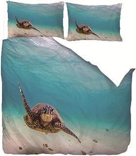 CMYKYUH Housse de Couette 220 x 240 cm Tortue de mer Bleue Polyester imprimé Parure de lit avec Fermeture à glissière Hous...