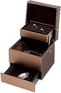 Jewelry Box Creative Gift Girl Practical Storage Box Multi-Layer Earrings Bracelet Storage Box (Color : Brown)